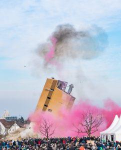 Sprengung Baywa-Turm Ludwigsburg