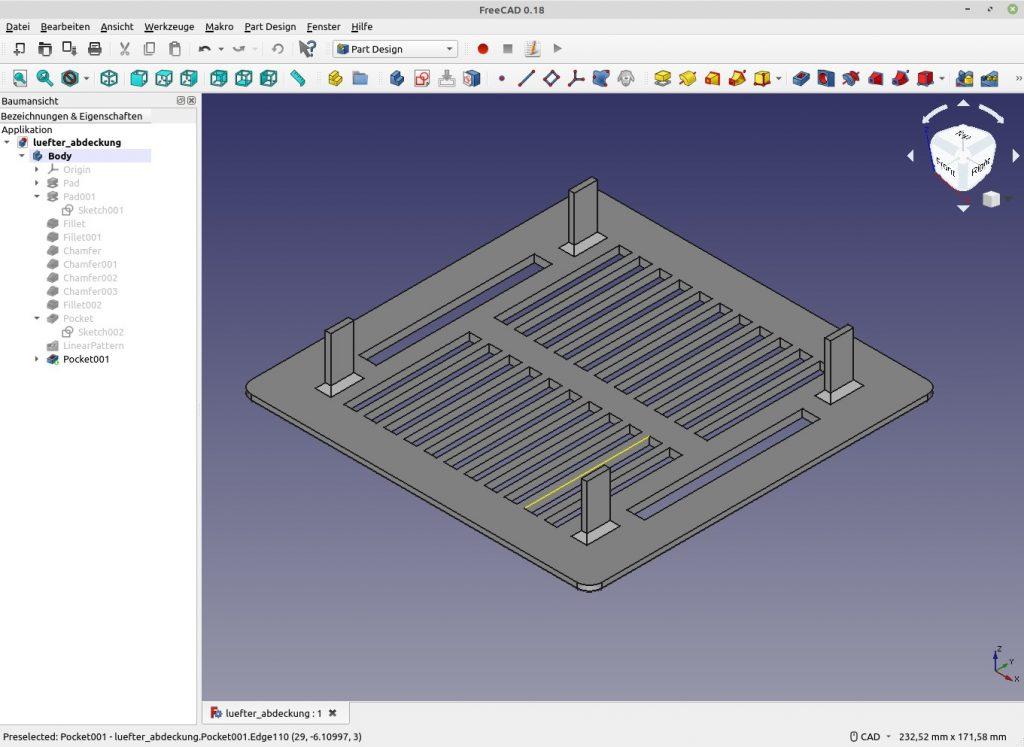 3D-Druck: 2. Projekt: Lüftungsgitter